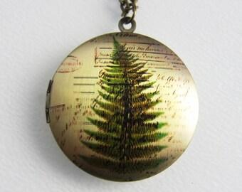 Fern Botanic Leaf Locket Necklace - Brass Photo Locket  (R3B-A1)