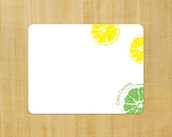 Stationery set of 8 PERSONALIZED Lemon Lime Note Cards