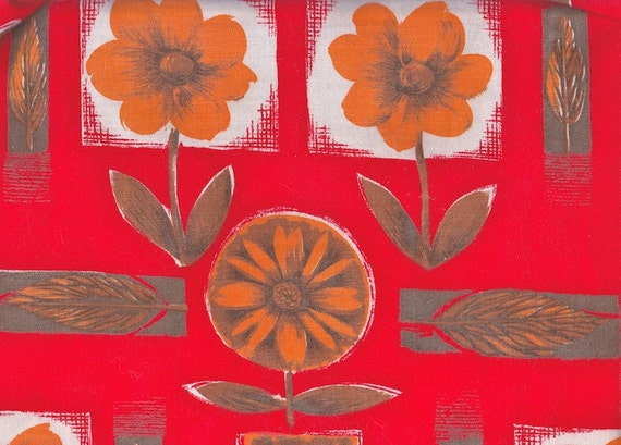 1970s  Cotton Fabric - Orange Flowers On Red