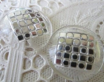 Vintage Buttons -2 clear wih silver handpainting, matching and old and sweet  (lot 116-5)