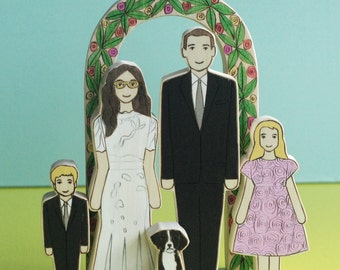 Custom Family Wedding Cake Topper-A Couple, Two Children, and One Pet and an Arbor