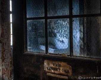 Ward personnel only - Old door in an abandoned asylum, Intriguing image of a mysterious place, signed print available in various sizes.