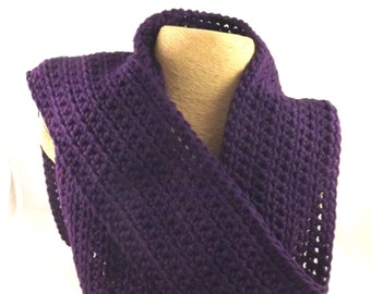Royal Purple Kid Size Dark Amethyst snuggly 100 percent cotton crochet scarf
