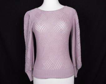 Plum Frost Purple Open Knit Sweater 8 80s S M