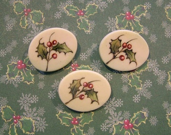 Oval Shaped Holly Porcelain Buttons - Handmade and Hand Painted - 3/4 inch x 1 inch - Set of 3