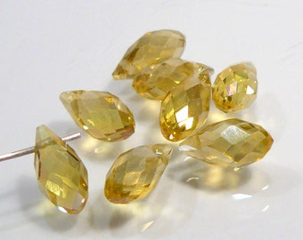 10 Beads....Holiday Special Citrine AB Glass Faceted Briolette Beads.....12x6mm....BB