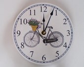 French Style Bicycle with Flower Basket Clock