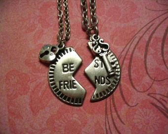 Couples Best  Friends Necklaces with Key and Heart Lock Charms Mother Daughter or Big Sister Little Sister Jewelry Gift
