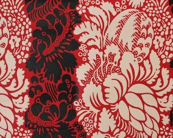 1960s Vintage Wallpaper Red and Black Floral Damask by the Yard