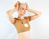 Bunny face crop top with ears t shirt