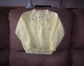 Size 2 Knit Yellow Raglan Sleeve Owl Sweater