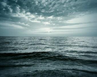 Sea Photograph, Sunset Ocean Landscape, 8x8 fine art print. Before the storm
