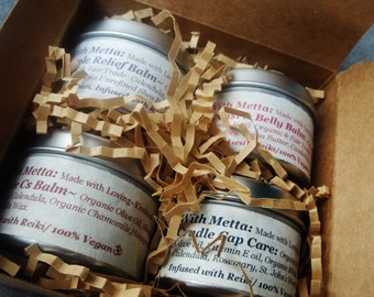 Mama and Baby Gift Set with Organic and Fair Trade ingredients.  100% VEGAN. Reiki infused.
