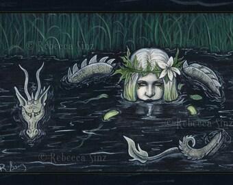 Submerged 8.5 x 11 Print Gothic Fantasy MERMAID Nymph Dragon Swamp
