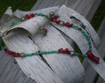 Asymmmetrical Coral and Turquoise Necklace and Earring Set