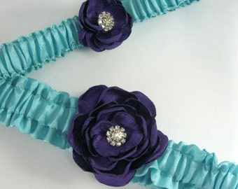 Garter Aqua Blue Plum PurpleRose Garter Set A271 - bridal garter accessory