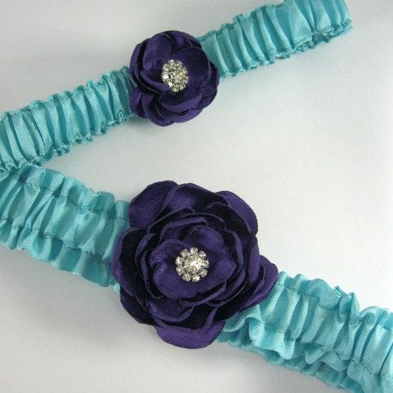 Garter Aqua Blue Plum PurpleRose Garter Set E045 - bridal garter accessory