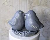 Antique Tin Patina Love Bird Cake Topper