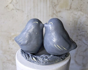 Antique Tin Patina Love Bird Cake Topper