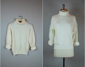 Vintage winter white turtleneck sweater / Chunky knit sweater