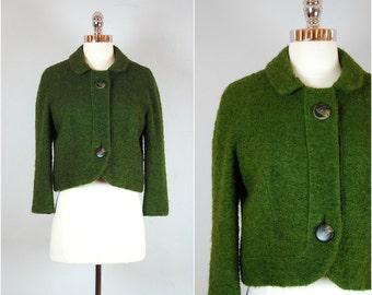 Vintage CROPPED wool jacket / 50's PETER PAN collar jacket
