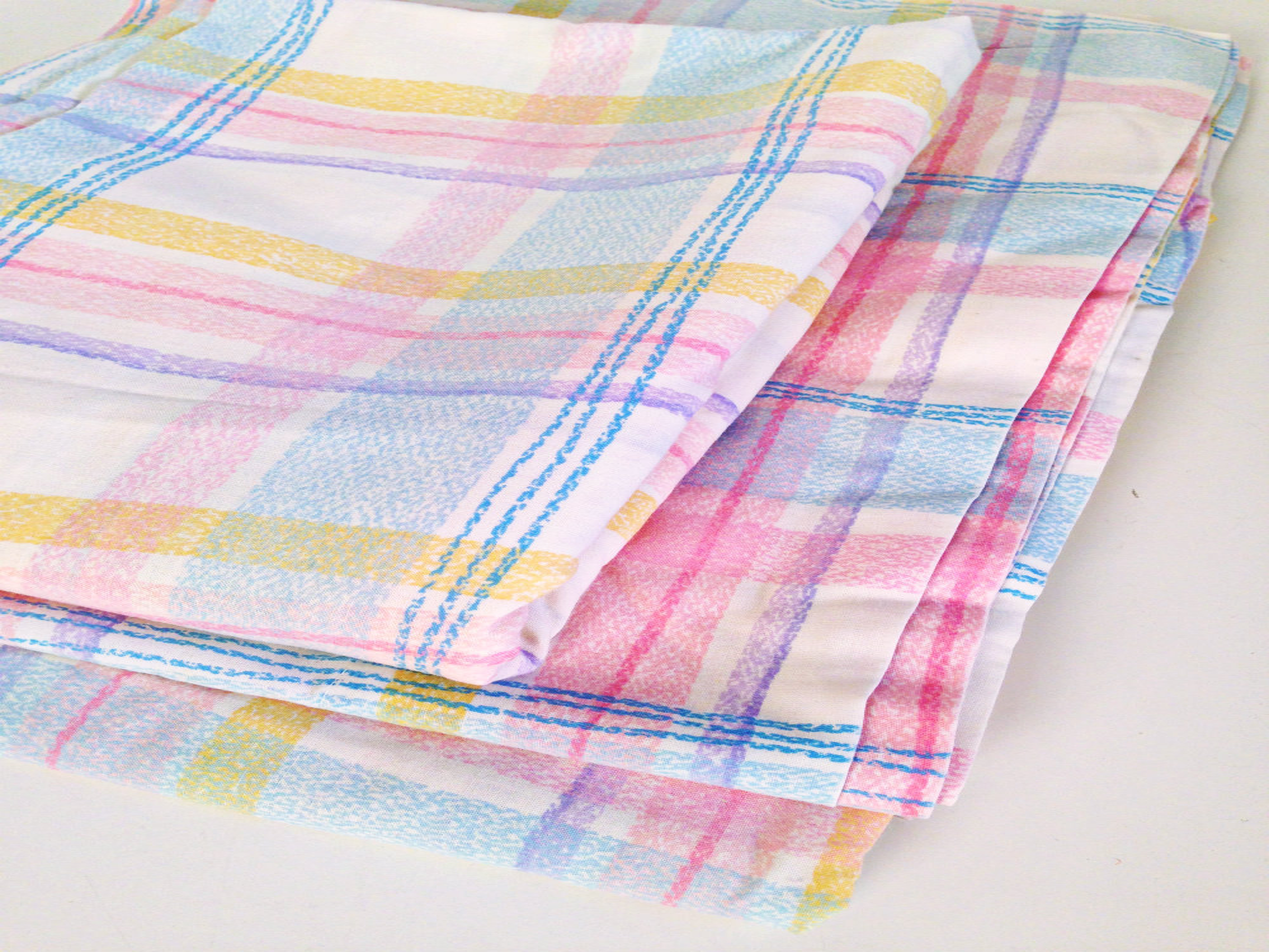 Vintage Bedding Pink Blue Yellow Purple Plaid Flat Sheet