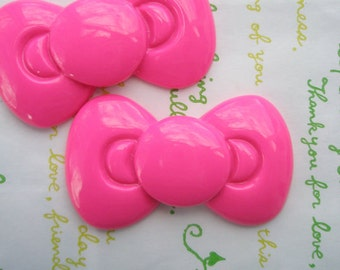 SALE Large Round  bow cabochons 2pcs Hot pink 59mm x 34mm