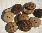 """Large Wood Buttons - Round Sewing Button - 1 1/2"""" - Coconut Wooden Buttons"""
