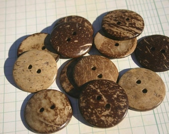 "Large Wood Buttons - Round Sewing Button - 1 1/2"" Wide - Coconut Wooden Buttons"
