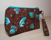 Spirit Bears - Brown and Turquoise Batik Cotton Wristlet Zipper Pouch Purse