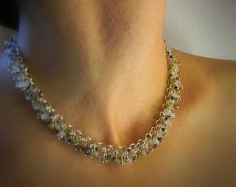 Slave's Wedding Collar Gemstone Garland Sterling Silver with Rainbow Moonstone Iolite Amethyst and grossular Garnet