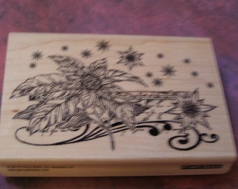 Floral Notes - Penny Black wood mounted Rubber Stamp