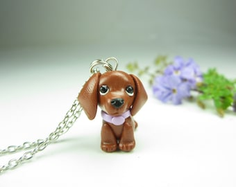 Red Dachshund Necklace, Dachshund gift, Dachshund jewelry, dog lover gift, dog gift, miniature animal, polymer clay, cute dog brown key ring