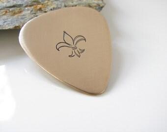 Fleur De Lis - Guitar Pick, Hand Stamped Bronze - Made to Order