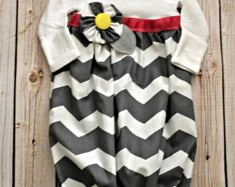 Baby Layette Chevron Gown - Coming Home Outfit - Sleep Sack - baby layette gown -Infant Gown - Photo Prop