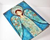 Angel Azul - Greeting Card 5 x 7 inches - Folk Art By FLOR LARIOS