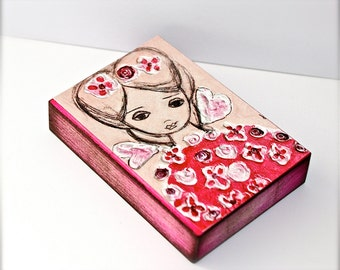 Pink Spring Fairy - Giclee print mounted on Wood (5 x 7 inches) Folk Art  by FLOR LARIOS