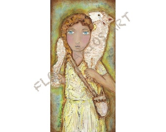 Good Shepherd - Print from Folk Art  Painting (5 x 10 inches PRINT) by FLOR LARIOS