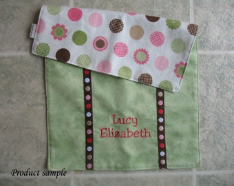 Personalized embroidered baby burp cloth - flannel dots