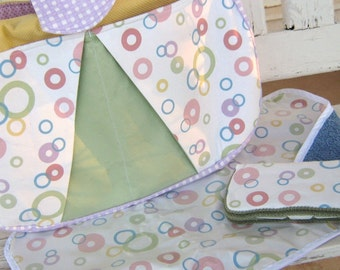 Diaper Bag- 18 x 1 1 x 4 1/2 inches -Geometric Polka Dots in blue, pink, yellow, green, Changing Mat and Wipe Case