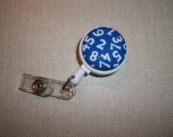 Clip On Retractable ID Badge Holder . Fabric Covered Button . Numbers