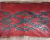 Vintage African Leather Sofa Pillow