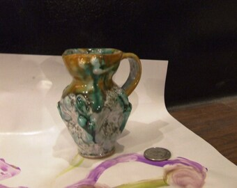Green, Golden Rod, and White, High-Fired, Hand Thrown, miniature Pinch-pot, Creamer Pitcher Signed, Made in Italy