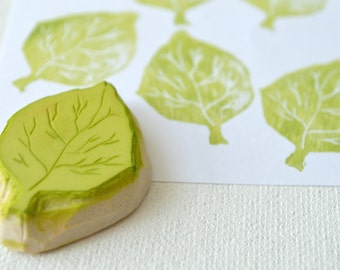 quaking aspen leaf, hand carved rubber stamp, handmade rubber stamp