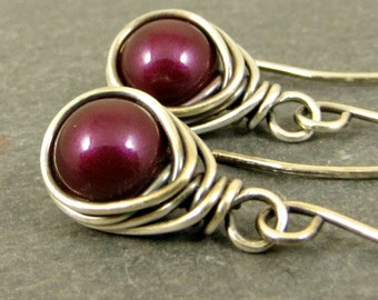 Wine Pearl Earrings, Wire Wrapped Pearl Earrings, Holiday Jewelry Gifts for Her