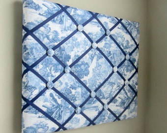 """Blue Denim Toile 16""""x20"""" Memory Board, Bow Holder, Bow Board, Ribbon Board, Memo Board, Vision Board, Photo Display, Business Card Holder"""