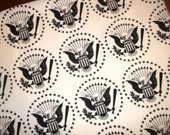 "Remnant Scrap RAMONES Eagle Bird Star ""Hey Ho Let's Go"" French Terry Cotton Knit Fabric 30x30"""