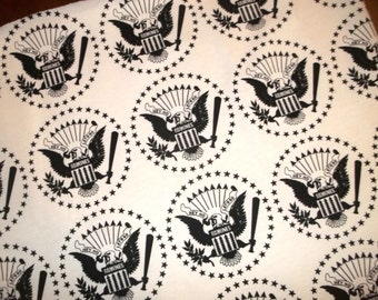 """Remnant Scrap RAMONES Eagle Bird Star """"Hey Ho Let's Go"""" French Terry Cotton Knit Fabric 30x30"""""""
