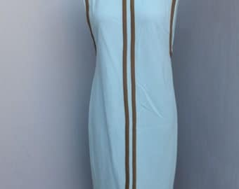 Vintage Shift Style Dress, 1970s, A Loubella Original,  Blue and Brown Shift Dress, Day Dress, Size 10/11