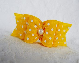 "Dog Bow- 7/8"" Yellow Pearl Swiss Dot DL Dog Bow"